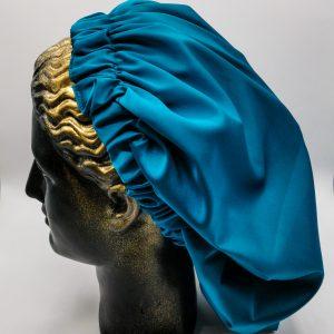 Bonetă de păr din satin turquoise
