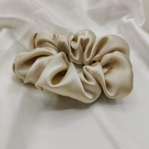 Elastic de păr din mătase crem