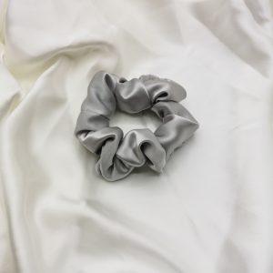 Elastic păr din mătase silver grey