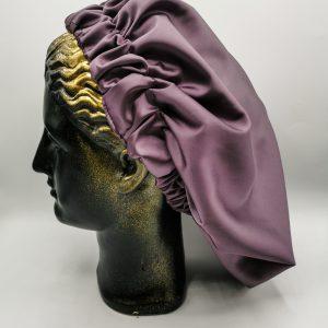 bonetă de păr din satin mov